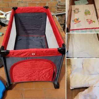set completo cuna plegable con sábanas y edredón