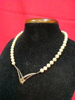 gargantilla de perlas majorica u plata años 80