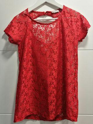 Blusa encaje rojo