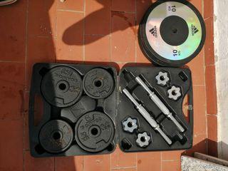 Kit de pesas + banco + barra