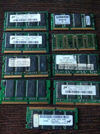 Lote de 9 memorias Ram para portátil