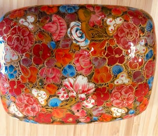 Caja papel maché de Cachemira. India