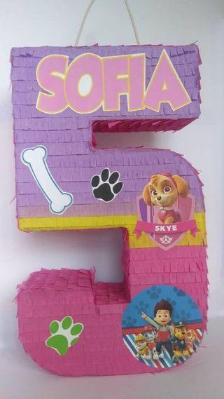 piñata número patrulla canina Skye
