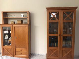 Conjunto muebles salón madera maciza