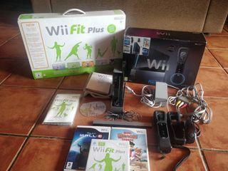 Nintendo Wii negra, wii fit y juegos