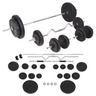 vidaXL Juego de pesas 90 kg barras 91405