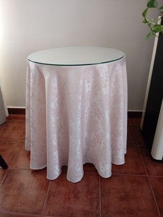 Mesa camilla con cristal 60 cm diametro
