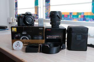 Conjunto cámara Nikon D5300+Sigma 17-50mm F2.8