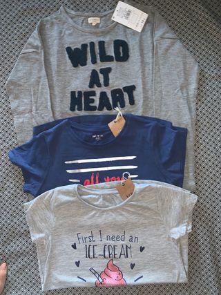 Pack sudadera y 2 camisetas NUEVAS talla 10 años