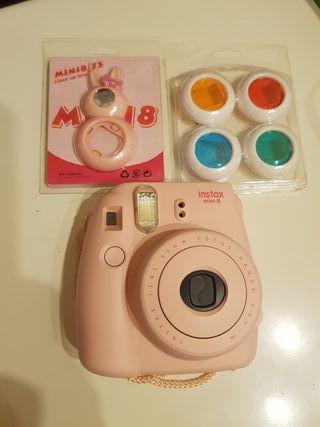 cámara instax mini 8 rosa con cartuchos de fotos
