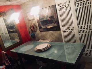 Mesa extensible cristal y madera