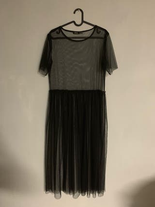 Vestido/Camiseta larga negra transparencias