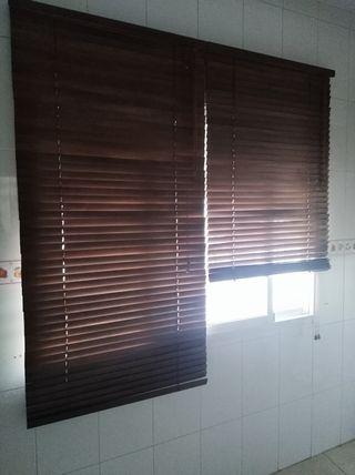 estores de persianas de madera 2 unidades