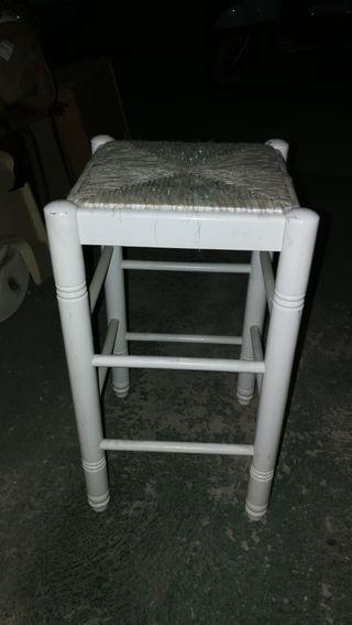 taburete alto madera blanco