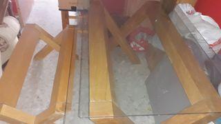 mesas pino maciza con cristal