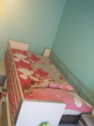 habitación juvenil: cama + almacenaje y escritorio
