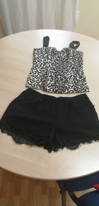 blusa animal / Short encaje