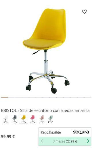 Silla escritorio / despacho moderna amarilla