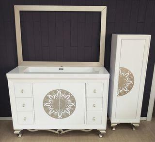 Mueble de baño estilo isabelino/vintage de 120 cms
