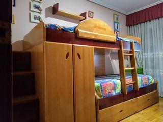 Habitación juvenil madera MACIZA 3 camas compacta