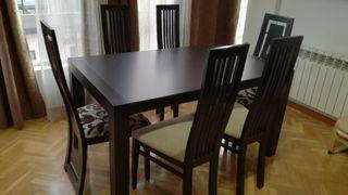 Mesa con 6 sillas color wengue