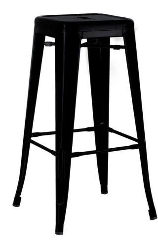 Taburete Tolix Alto Negro y Alto en color Plata