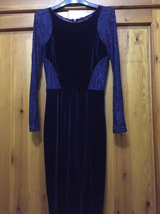 Vestido Elegante Azul Terciopelo