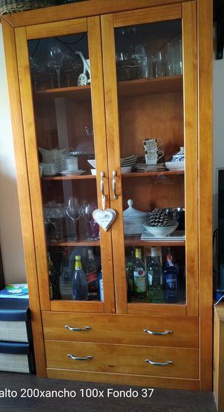 Conjunto muebles salon pino macizo