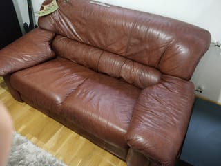 Sofás vintage de piel marrón