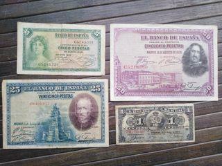 Lote de 4 billetes españoles antiguos