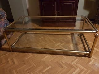 Mesa de centro de cristal y metal