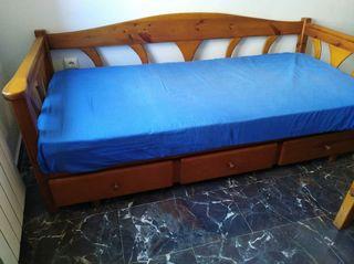mueble cama con cajones pino
