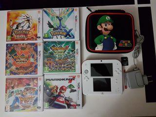 Nintendo 2DS, funda, cargador, 6 juegos,SD 4Gb