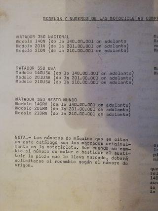 Catálogo de piezas Bultaco Matador 350