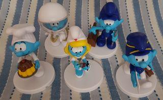 5 figuras de los pitufos de la colección de sbaba