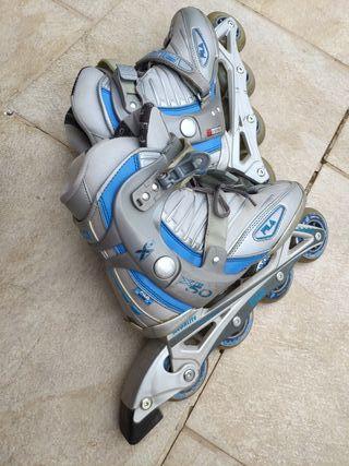 patines en linea fila con bolso y protecciones,