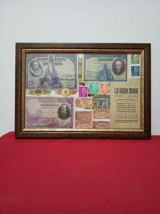 cuadro con billetes antiguos