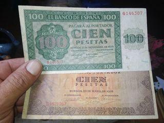 Antiguos billetes de Burgos. 1936-1938