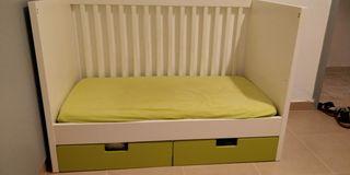 Cuna Ikea stuva + colchón + protectores y sabanas