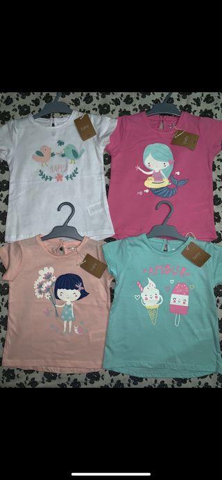 Pack 4 camisetas NUEVAS talla 3/4 años