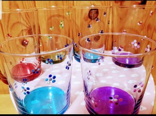 6Vasos drink flores multicolor pintados a mano.