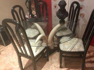 Conjunto mesa salón y centro con 6 sillas