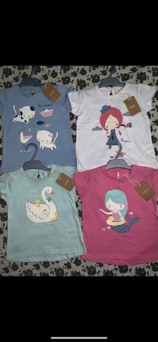 Pack 4 camisetas NUEVAS talla 2/3