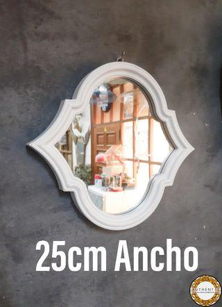 Espejo Blanco Artdeco 25cm Ancho