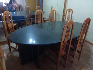 Mesa salón granito y sillas
