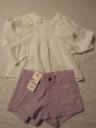 Conjunto niña pantalón pana y camisa.