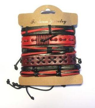Pack 5uds de pulseras de Cuero rojas y negras