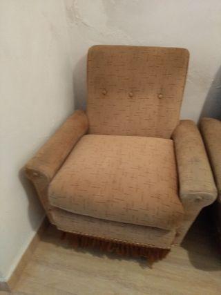 conjunto 2 sillones y 1 sofá vintage