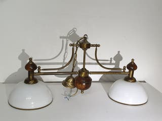 lámpara para mesa de billar latón y madera