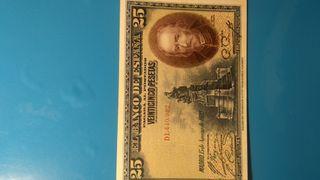 Billete antiguo de pesetas españolas